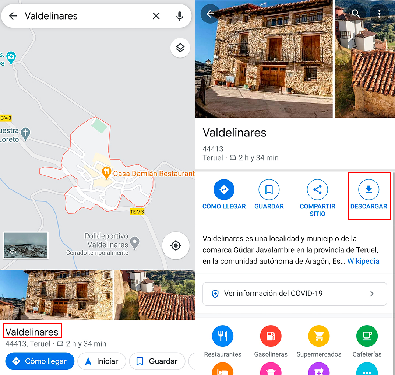 descargar mapas en google maps